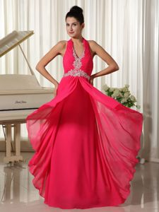 Cool Back Halter Appliques Coral Red Chiffon Homecoming Party Dress