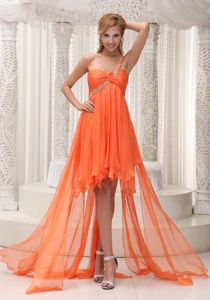 Orange One Shoulder High-low Homecoming Gowns in Whitby Ontario