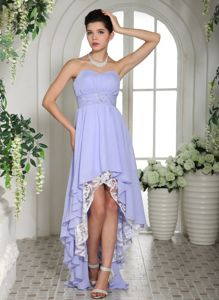 Lace Sweetheart Beading Lilac High-low Evening Homecoming Dresses