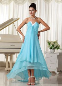 Baby Blue V Neck Layers Chiffon High-low Party Dress for Homecoming