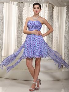 Polka Dots Sweetheart Zipper Up Back High-low Homecoming Gowns