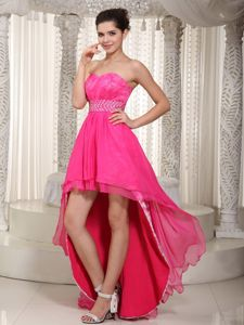 High-low Beading Sweetheart Lace Hot Pink Chiffon Homecoming Dress