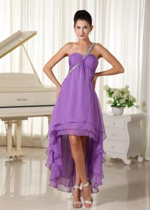 Lavender One Shoulder Layers Chiffon Homecoming Dress for Juniors