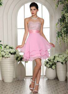 Layers Sweetheart Beading Baby Pink Mini-length Homecoming Gowns