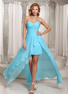 Aqua Blue Sweetheart Chiffon Burlington Ontario Homecoming Dresses
