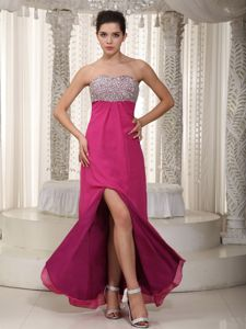 Vintage Hot Pink Homecoming Dresses with Beaded Sweetheart and Slit