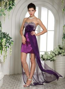 Appliques Sweetheart Beading Eggplant Purple Homecoming Dresses