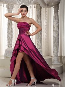Sequin Strapless High-low Layers Wine Red Homecoming Party Gowns