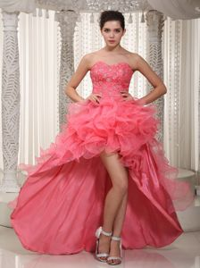Ruffled Sweetheart High-low Kitchener Ontario Homecoming Dresses