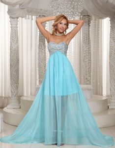 Aqua Blue Sweetheart Beading Chiffon Evening Homecoming Dresses