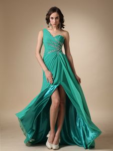 Slit One Shoulder Beading Turquoise Homecoming Dresses For Juniors