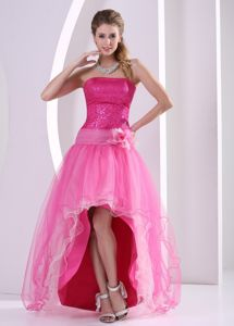 Hot Pink Sequin Strapless Homecoming Dresses for Hamilton Ontario