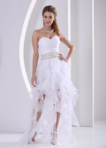 White Sweetheart Ruches Beading Ruffled Vintage Homecoming Dress