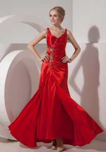 Red Straps Beading Zipper-up Calgary Alberta 2014 Homecoming Gown