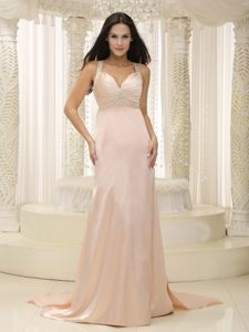 Watteau Train Straps Beading Baby Pink Celebrity Homecoming Gowns