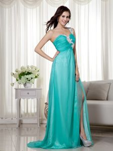 Slit Appliques One Shoulder Brush Train Turquoise Homecoming Gown