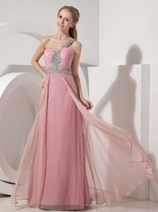Beading One Shoulder Pink Zipper-up Homecoming Princess Dresses