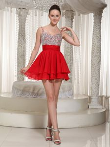 Layers Straps Beading Red Peterborough Ontario Homecoming Dress