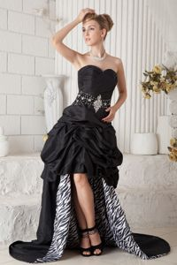 Zebra Sweetheart Beading Pick Ups High-low Black Homecoming Gown