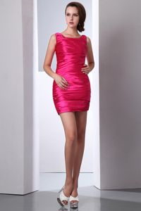 Scoop Neck Ruched Hot Pink Taffeta Inexpensive Homecoming Dress