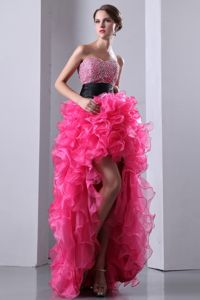 Hot High-low Sweetheart Beading Ruffled Homecoming Dance Dresses