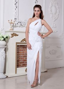 Ruched One Shoulder Slit Backless White Homecoming Queen Dresses