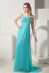 Brush Train Straps Beading Turquoise Zipper-up Homecoming Dresses