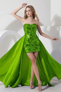 Sequin Sweetheart Green Homecoming Dresses with Detachable Train