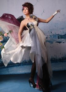 Multi-color Feather and One Shoulder Asymmetrical Homecoming Dress