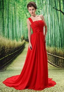 Red One Shoulder Appliques Homecoming Dress Decorated Beading