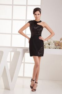 Black Sequin Mini Homecoming Queen Dresses with Asymmetrical Neck