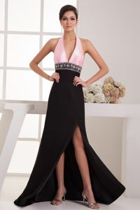 Brush Train for Halter Pink and Black Homecoming Dress with Backout