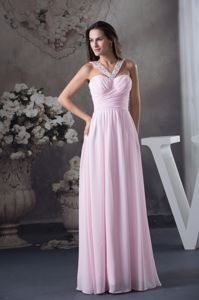 Beaded V-neck Ruched Pink Homecoming Dresses with Side Zipper