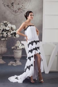 High Low Layers Homecoming Dress in White with Black Beaded Appliques