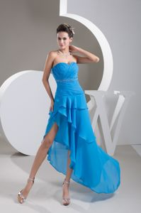 Beading and Sash Covered Homecoming Dress with Asymmetrical Edge