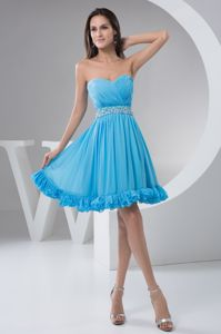 Ruched and Beaded A-line Sparkly Homecoming Dresses in Aqua Blue