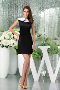 Flounced Bateau Neck Mini-length Tight Homecoming Dresses in Black