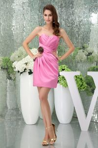 Sweetheart Pink Ruched Mini Homecoming Dress with Handmade Flower