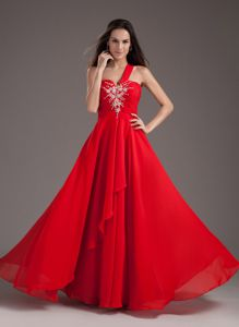 Red One Shoulder Beading Homecoming Court Dresses to Floor-length