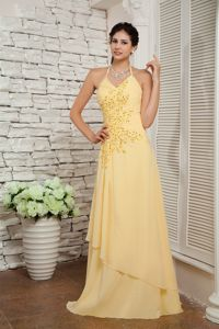 Light Yellow Halter and Appliques Homecoming Dress with Brush Train
