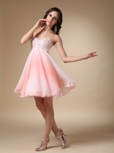 2013 Pink Sweetheart Beading Mini Prom Homecoming Dress in A-line