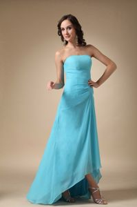 Oregon Aqua Blue Strapless Asymmetrical Junior Homecoming Dresses