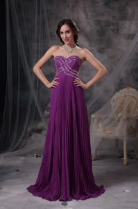 Purple Beading Sweetheart Celebrity Homecoming Dresses with Brush