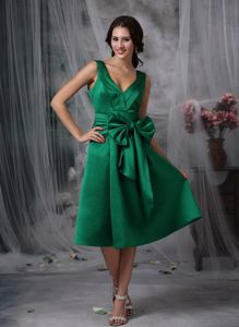 Dark Green Missouri Homecoming Dress for Prom with V-neck and Bow