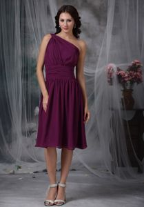 Nevada Asymmetrical One Shoulder Ruche Homecoming Dress in Purple