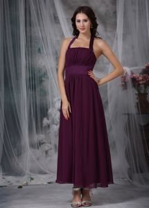 Burgundy Empire Halter Celebrity Homecoming Dresses to Ankle-length