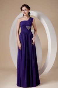 Purple Column One Shoulder for Beading Junior Homecoming Dresses