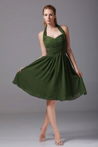 Maine Ruched Halter Olive Green Homecoming Queen Dress in A-Line