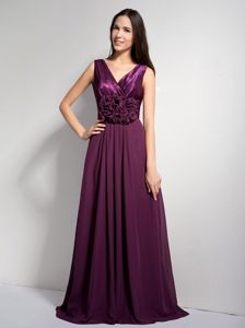 Dark Purple Straps with V-neck Attached Brush Homecoming Dresses