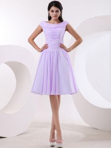 Bateau Lavender Homecoming Cocktail Dresses with Ruched Bodice